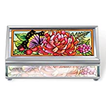 Amia 5649 Beveled Glass Rectangular Jewelry Box, Hand Painted Butterfly Design, 4-1/4-Inch by 1-1/4-Inch by 2-1/4-Inch