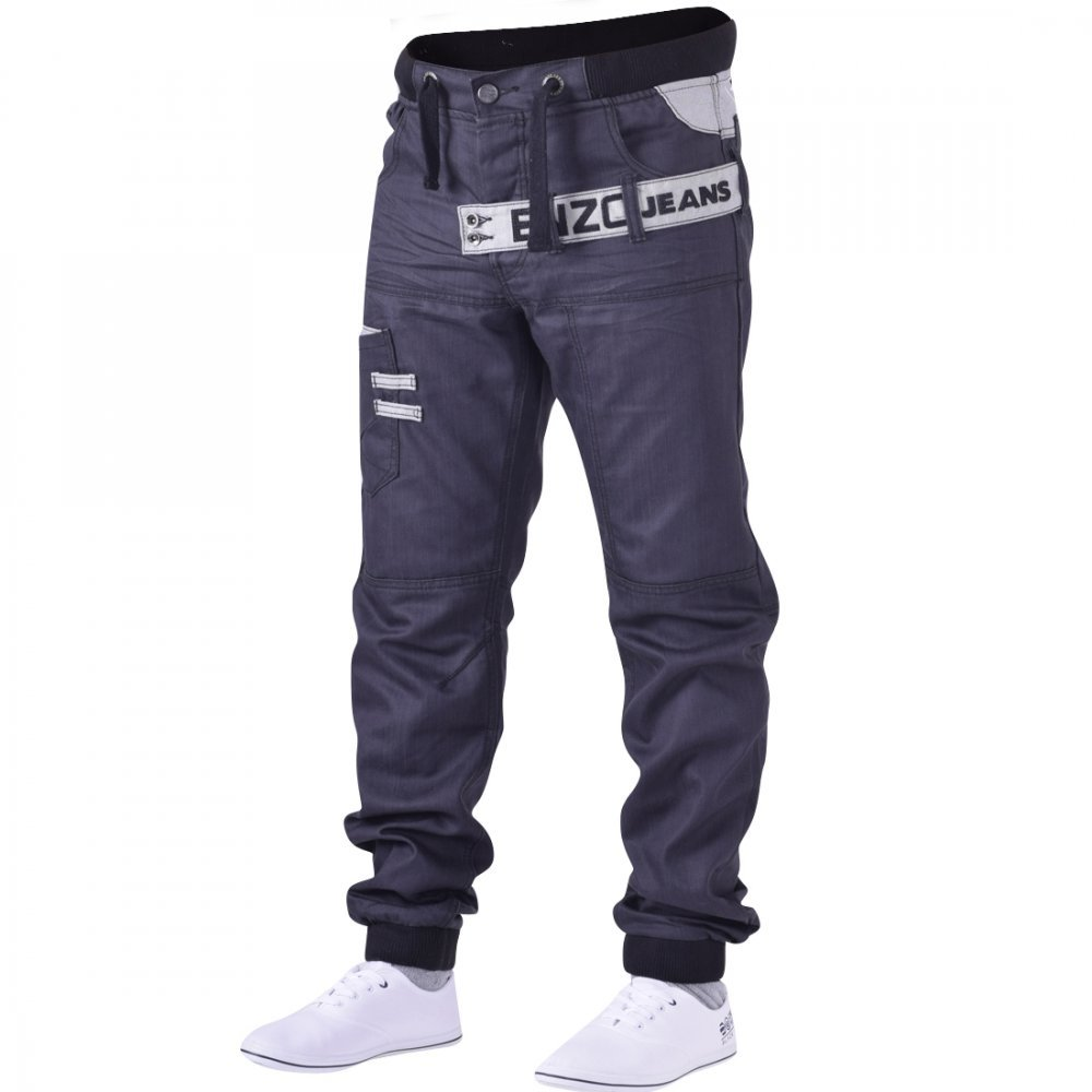 Enzo Mens Black Designer Cuffed Jogger Jean Coated Denim