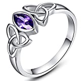 Veunora White Gold Plated Marquise Cut Amethyst Celtic Knot Ring Jewerly for Women Size 8