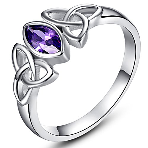 Marquise Ring One Love (Veunora 4x8mm Marquise Cut Amethyst Celtic Knot Dainty Ring Jewerly for Women Size 7)