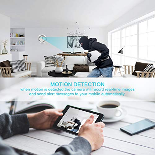 AMCSXH HD 1080P WiFi Hidden Camera Wall Clock Spy Camera with Motion Detection, Security for Home and Office, Nanny Cam/Pet Cam/Wall Clock Cam, Remote-Real Time Video, Support iOS/Android, Video only by AMCSXH (Image #3)