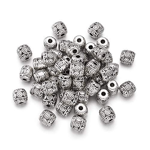 Craftdady 50Pcs Antique Silver Carved Barrel Spacer Beads 6x6mm Lead Free & Nickel Free & Cadmium Free Tibetan Metal Drum Loose Beads for DIY Jewelry Craft Making with 2mm Hole