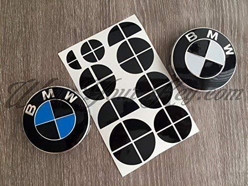 NOIR BRILLANT BMW deux badge emblème superposé AUTOCOLLANT COUPE JANTES POUR TOUS BMW