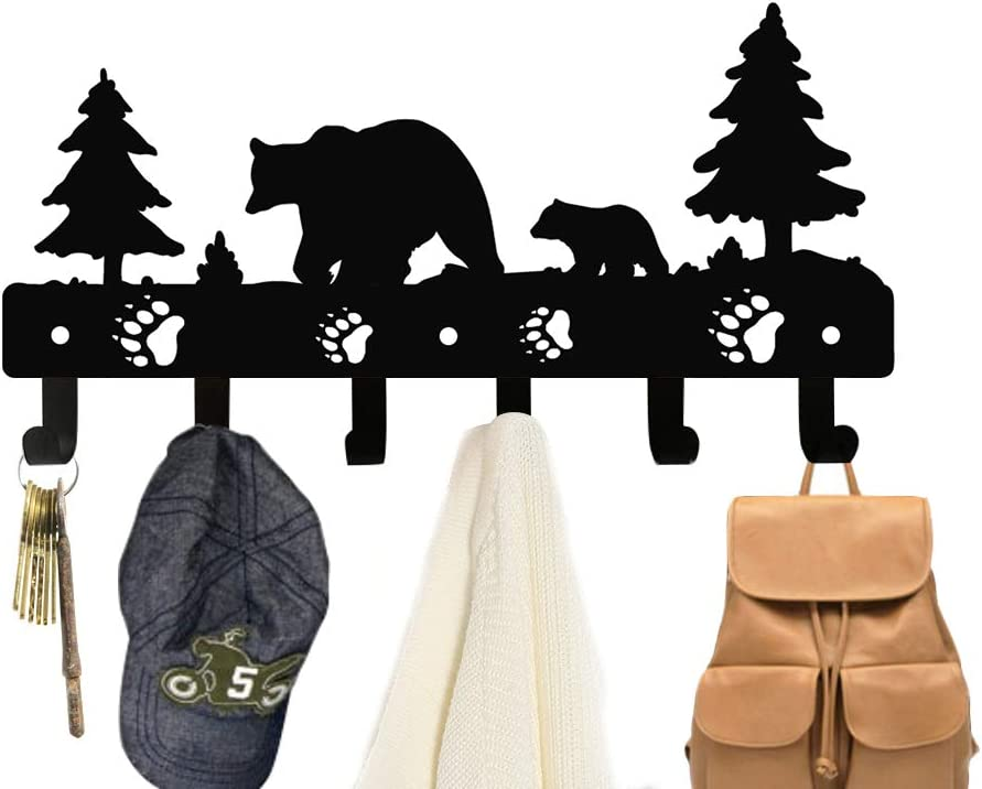 Homentum Decorative Coat Hooks Wall Mounted Children's Hangers Fathers Day Gifts Metal Towel Racks for Bathroom Dog Leash and Key Holder Storage Entryway Clothes and Hat Organizer(Bear)