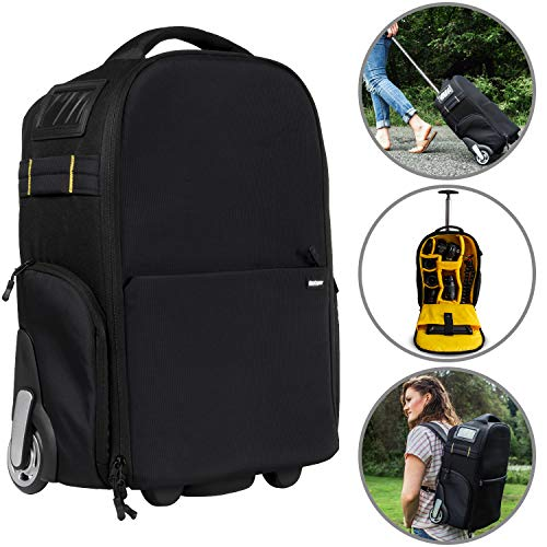 Deco Gear 3-in-1 Travel Camera Case – Waterproof and Shockproof Rolling Camera Backpack – Three Methods of Transport – Wheeled Trolley, Backpack, Carry On Bag