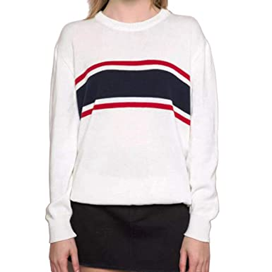 b48423d73e3 Germinate Huang Crew Neck Sweaters Women Winter White Casual Work Cute  Pullovers Plus Size (Multicolored
