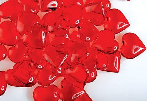 160 Translucent Red Acrylic Hearts for Vase Fillers, Table Scatter, or Decoration - Valentines Day or Wedding - 160 Day Supply
