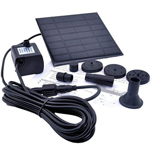 Besde Solar Water Panel Power Fountain Pump Kit Pool Pond Watering Garden Submersible (Black) (Submersible Fountain Pump Kit)