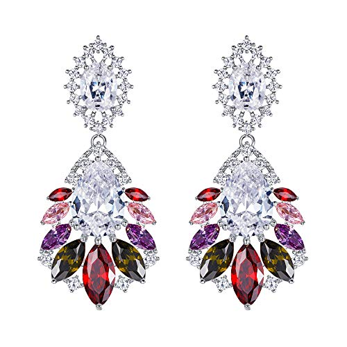 BriLove Wedding Bridal Cubic Zirconia Earrings for Women Peacock Feather Shaped Chandelier Dangle Earrings Colorful Multicolor Silver-Tone