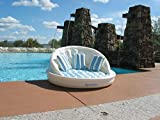 68'' White, Blue and Green Striped Inflatable Floating Swimming Pool Aqua Sofa Lounge Raft