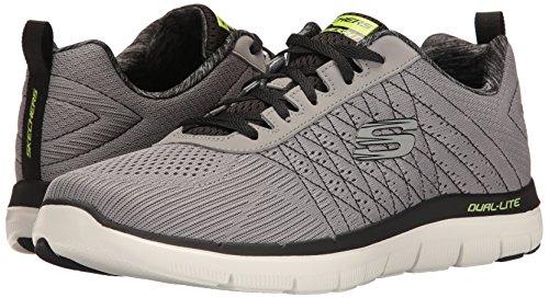 Air Plein 0 Homme Clair Advantage En Multisports Noir gris Chaussures Gris Pour Skechers Flex 2 Fznxxgfv