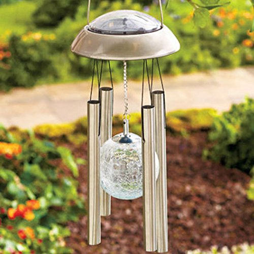(Solar Metal Wind Spinner Color Changing Light Mobile for Garden Outdoor Decor)