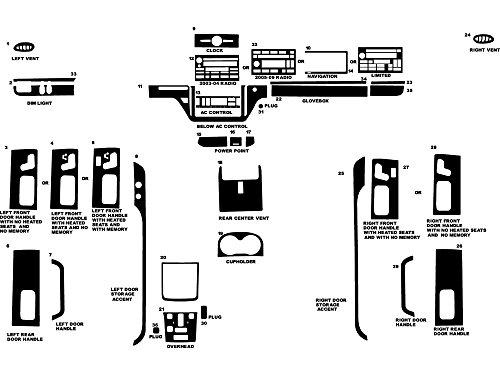 Rvinyl Rdash Dash Kit Decal Trim for Lincoln Town Car 2003-2011 - Wood Grain (Burlwood Dark)