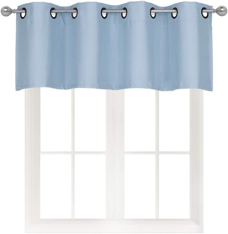 Home Queen Grommet Top Blackout Curtain Valance Window Treatment for Living Room, Short Straight Drape Valance, Set of 1, 54 X 18 Inch, Slate Blue