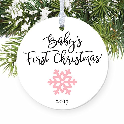 Baby's First Christmas Ornament 2017, Girl Baby Pink Snowflake Porcelain Ceramic Ornament, 3 Flat Circle Christmas Ornament with Glossy Glaze, Red Ri…