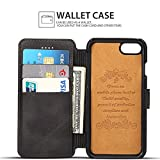 iPhone 8 Plus Case, iPhone 7 Plus Case, Pasonomi iPhone 7/8 Plus Leather Wallet Case - [Slim Fit] Vintage Flip Case Cover with Stand Function & Credit Card Slots for iPhone 8/7 Plus 5.5 inch (Black)