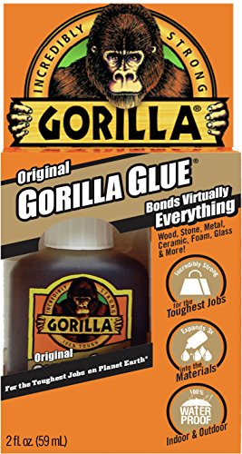 - Gorilla Original Gorilla Glue, Waterproof Polyurethane Glue, 2 ounce Bottle, Brown