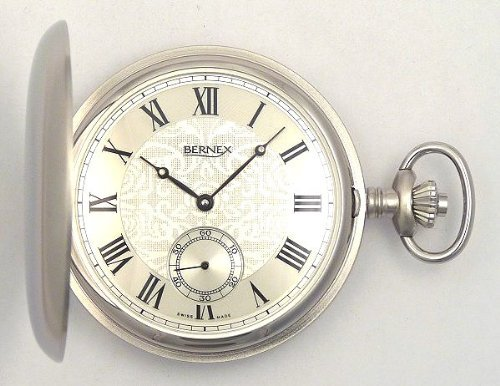 Swiss Made Pocket Watch (Bernex Swiss Made Large Rhodium Plated Satin Pocket Watch with 17 Jewel Movement)