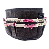 Oh Girl Designer Purse/Handbag Organizer Insert - Rigid Heavy Duty Cotton Construction Won't Collapse in Your Bag (Length 10.5'' Width 5.5'' Height 6'', Dark Jeans with Pink & White Floral Trim)