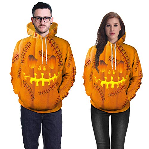 Smdoxi Couple Big Size Halloween Scary Pumpkin 3D Printing Round Neck Long-Sleeved Hoodie Casual Warm Trend Shirt Yellow