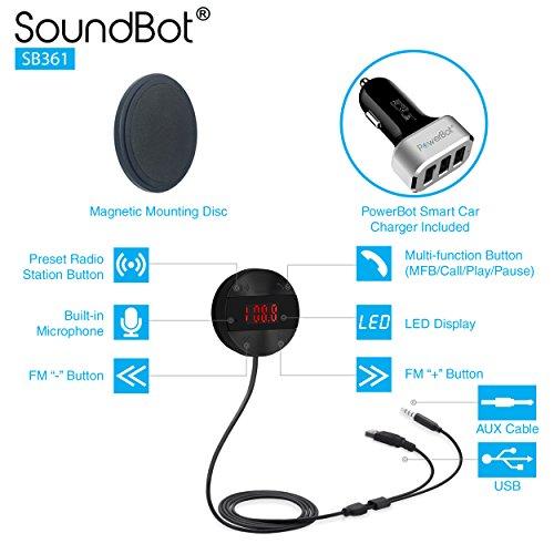 SoundBot SB361 FM RADIO Wireless Transmitter Receiver Adapter Universal Car Kit Music Streaming & Hands-Free Talking Dongle 3 Port USB Car Charger Bundle + Magnetic Mount by Soundbot (Image #1)