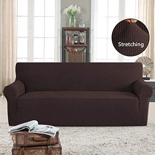 PrimeBeau Ultimate Stretch Spandex Knit Sofa Slipcover Brown -Pet Friendly