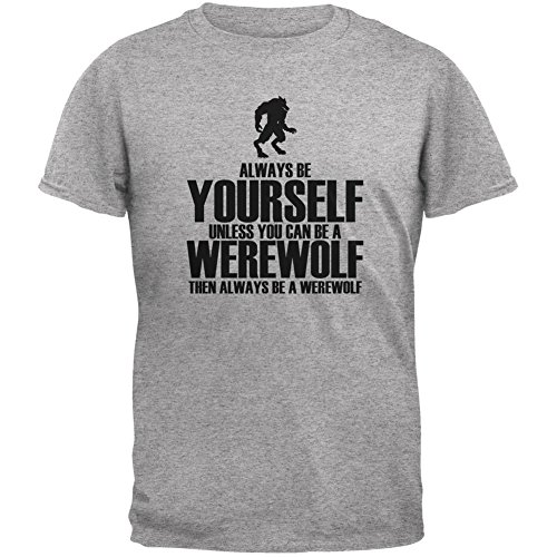 Halloween Always Be Yourself Werewolf Heather Grey Youth T-Shirt - Youth Large (Werewolf Outfits Halloween)