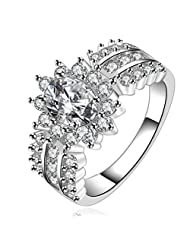 HMILYDYK Jewelry Womens 925 Sterling Silver Plated Eternity Ring Cubic Zirconia CZ Couples Wedding Band