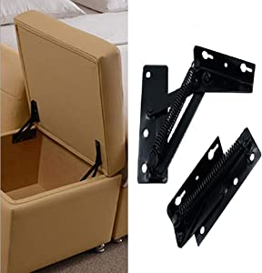 YUM 2 Pieces 80 Degree Foldable Lifting Bracket, Black Spring Hinges are widely Used in Sofa Hinge Lifters, Furniture Storage Support Hinges