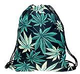 BAGOOE Printed 3D Patterns Floral Darwstring Quick Pack Travel Storage Shoulder Gym Bag Pouch Backpack Rucksack, Leaves Review