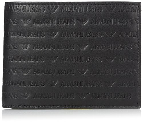 Armani Jeans Men's All Over Logo Embossedtrifold Wallet 13x10x2, black, One (Armani Denim Jeans)