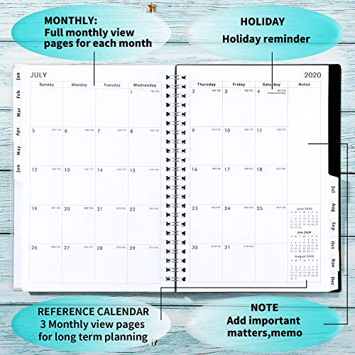 2019-2020 Academic Planner, Weekly & Monthly Planner, 6.25 x 8.3, 12 Monthly Tabs, Twin Wire Binding, Clear Cover Pockets
