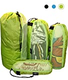Raqpak Stuff Sack Set of 4 Lightweight Travel Drawstring Bags for Luggage and Outdoors (Mixed-L/M/S/xs, Green)