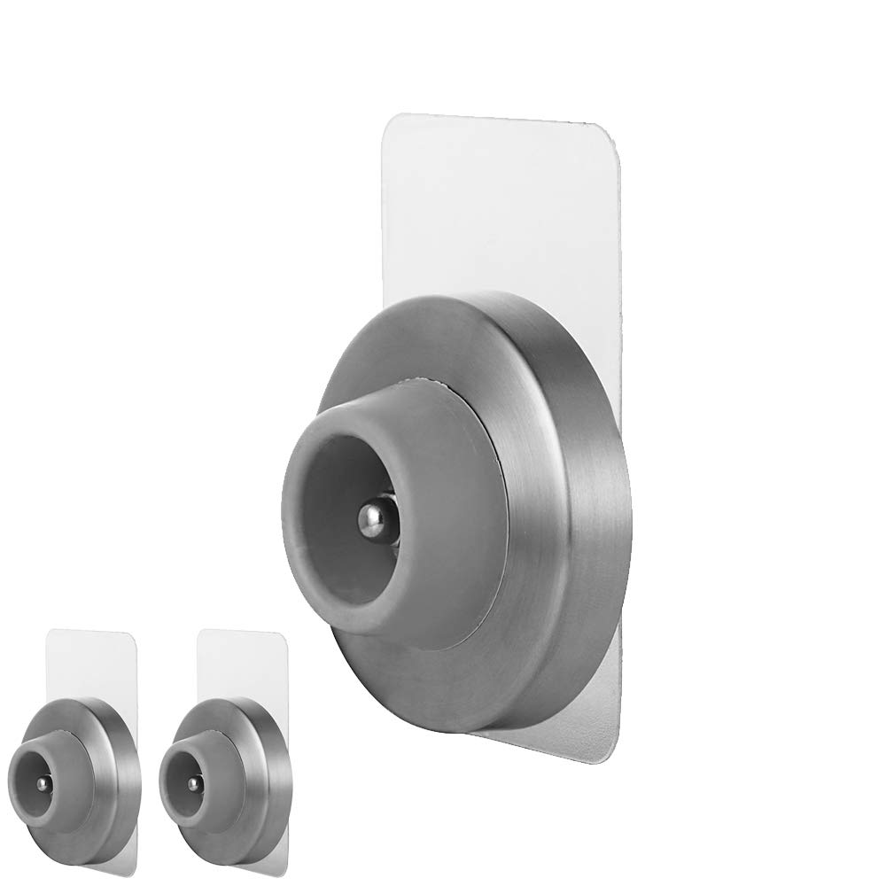 JQK Door Stopper, Sound Dampening Door Stop Bumper Wall Protetor with Grey Rubber (3 Pack), Adhesive or Wall Mount Brushed Nickel, Stainless Steel by JQK (Image #1)