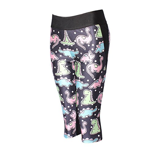 Women's 3D Cute Dinosaur Printed Calzas High Waist Capri Tights Leggings Beige