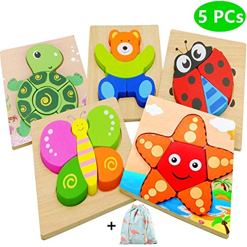 Dinana Wooden Animal Jigsaw Puzzles for Toddlers 1 2 3 4 Years Old, Educational Toys Gift with 5 Pcs Chunky Bright Vibrant Color Shapes Lovely Animal, Free Drawstring Bag for Easy Storage ()