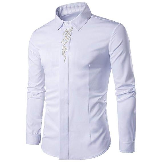 Camisetas de Bordado Hipster para Hombre Camisetas de Manga Larga de Manga Larga Casual Camisas de