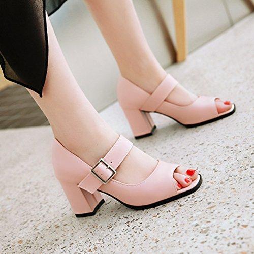 Caviglia Toe Xinwcang Donna Fibbia Cinturino con Moda Rosa Peep Scarpe Grosso Tacco Scarpe vXTvxr