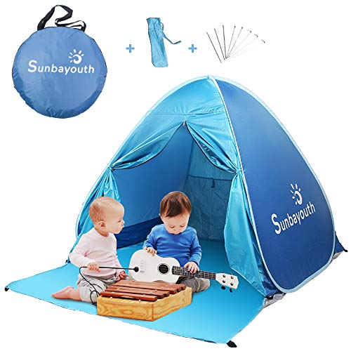 - SUNBA YOUTH Beach Tent, Beach Shade, Anti UV Instant Portable Tent Sun Shelter, Pop Up Baby Beach Tent, for 2-3 Person (Blue)