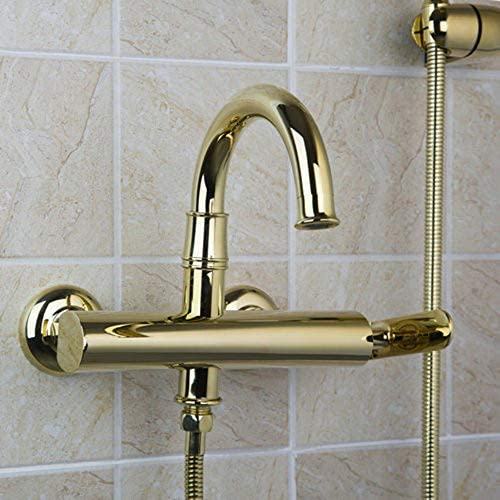 冷たいお湯で浴室バスタブ蛇口、シングルハンドル真鍮風呂シャワーセットウォールは、ハンドヘルドシャワー付きのバスタブミキサータップをマウント,金
