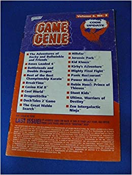 Game Genie Code Update Book for NES - Volume 2 Number 3 ...