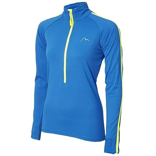 More Mile Ladies Hi Viz Half Zip Long Sleeve Running Top