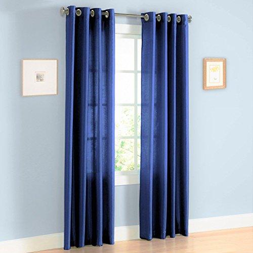 LuxuryDiscounts 2 Piece Solid Faux Silk Grommet Window Curtain Treatment Panel Drapes (54