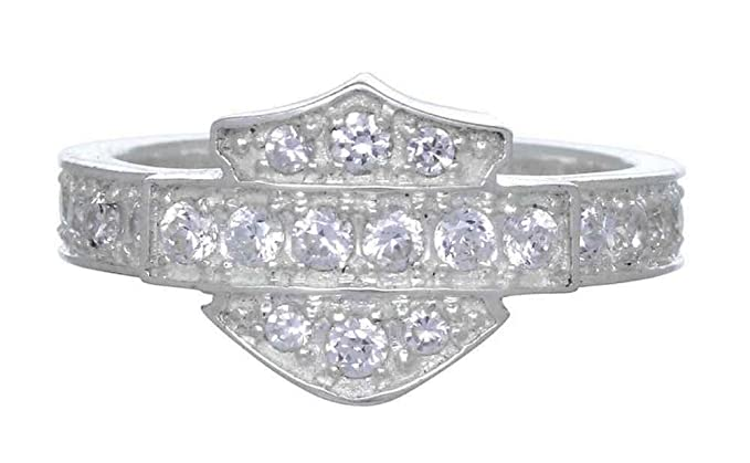 harley davidson womens ring silver bling bar shield band silver hdr0159 - Harley Davidson Wedding Rings