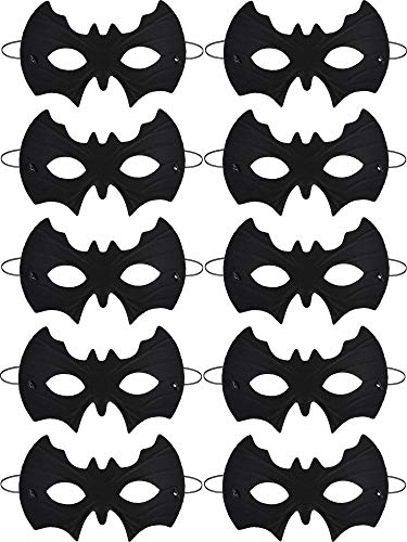 10 Pieces Halloween Bat Mask Black Eye Mask Half Masquerade Mask for Halloween Party Fancy Dress Accessories (Bat Mask Black)
