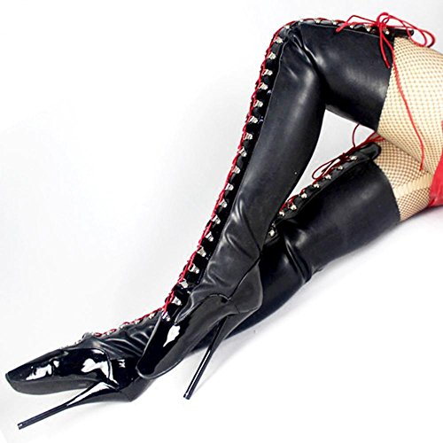 Cosy Hauts Cuir Cuissarde Talons à L Chaussures Haut De éTendue Cuisse Aiguille Sexy Cuissardes Bottes Aiguilles Femme Talon Bottes XIE Genou Club Plateforme Cuissardes FéTiche 41 Black Plus black Xzqxg64S