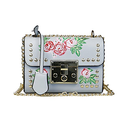 PU Rivet Bags Embroidery Flap Shoulder Bag Sac Leather Feminina Small Grey Bag Women Ladies Messenger Fashion Flower 1RqIU