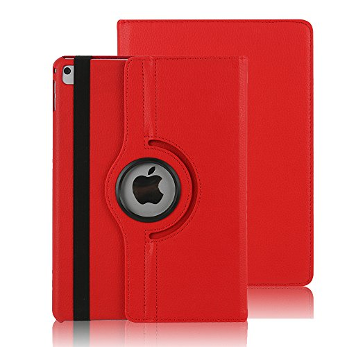 Price comparison product image iPad Air 2 Case Cover,Dream Wings 360 Degrees Rotating Multi-Angle Viewing Stand Screen Protective Smart Case for Apple iPad Air 2 9.7 inch Tablet (iPad Air 2, Red)
