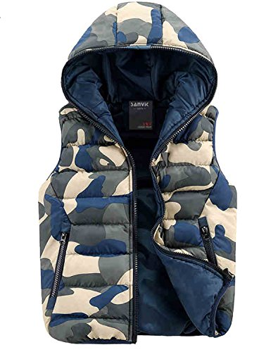 Only Faith Men's Autumn & Winter Cotton-padded Vest Camouflage Down-like Fashion Couple Wasitcoat (XXL(chest:44.88''), Blue) by Only Faith vest