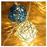 padom Blue and White 4m 20 Rattan Ball LED String Light Warm White and Colorful Fairy Light Holiday Light for Party Christmas Wedding Decoration (Without Batteries)
